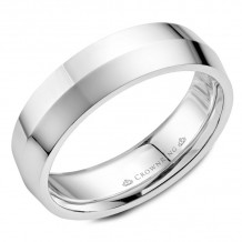 CrownRing 14k White Gold Carved 6mm Wedding Band - WB-062C6W