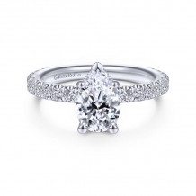 Gabriel & Co. 14k White Gold Contemporary Straight Diamond Engagement Ring - ER14649P4W44JJ
