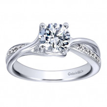 14k White Gold Round Twisted Criss Cross Engagement Ring