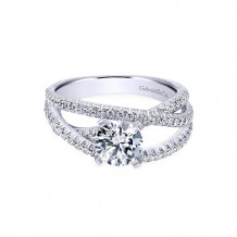 Gabriel & Co 14k White Gold Round Free Form Engagement Ring