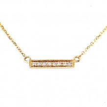 Lau International 14k Yellow Gold Diamond Bar Necklace