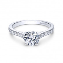 Gabriel & Co. 14k White Gold Victorian Straight Diamond Engagement Ring - ER7222W4JJJ