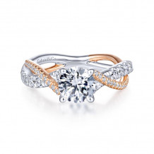 Gabriel & Co. 14k Two Tone Gold Contemporary Twisted Diamond Engagement Ring - ER14460R4T44JJ