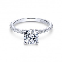 Gabriel & Co. 14k White Gold Contemporary Straight Diamond Engagement Ring - ER13903R4W44JJ