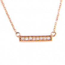 Lau International 14k Rose Gold Diamond Bar Necklace
