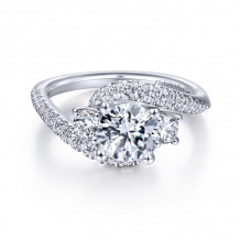 Gabriel & Co. 14k White Gold Contemporary 3 Stone Diamond Engagement Ring - ER14465R4W44JJ