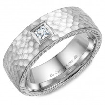 CrownRing 14k White Gold Diamond Rope 8mm Wedding band - WB-021RD8W