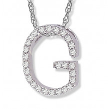 Lau International 14k White Gold Diamond Initial G Pendant