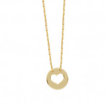 Midas 14K Mini Disc Heart Cut Out Necklace
