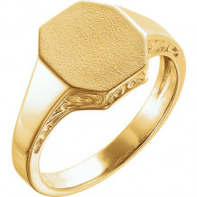 Stuller 14k Yellow Gold Men's Scroll Signet Ring