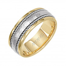 14k Two Tone Gold 7.5mm Mens Hammered Center Wedding Band