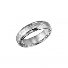 14k White Gold 6mm Hammered Wedding Band