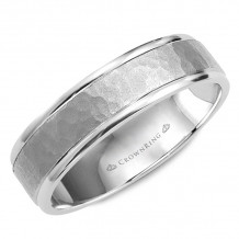 CrownRing 14k White Gold Carved 6mm Wedding Band - WB-8140