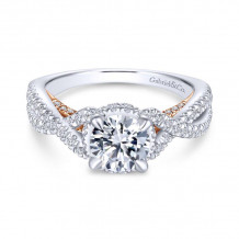 Gabriel & Co. 14k Two Tone Gold Crown Twisted Diamond Engagement Ring - ER13835R4T44JJ