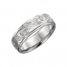 Stuller Platinum Hand-Engraved Wedding Band