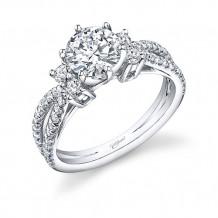14k White Gold Coast Diamond 0.55ct Diamond Semi-Mount Fishtail Engagement Ring