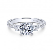 Gabriel & Co. 14k White Gold Contemporary 3 Stone Diamond Engagement Ring - ER7288W44JJ