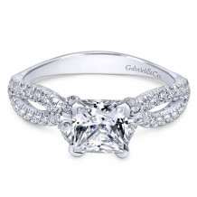 Gabriel & Co. 14k White Gold Princess Cut Twisted Engagement Ring
