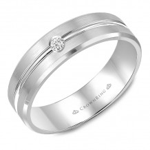 CrownRing 14k White Gold Diamond 6mm Wedding band - WB-9125