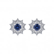 14k White Gold Gabriel & Co. Diamond Blue Sapphire Stud Earrings
