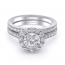 14k White Gold Coast Diamond 0.64ct Diamond Semi-Mount Fine Pave Milgrain Engagement Ring