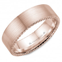 CrownRing 14k Rose Gold Rope 7mm Wedding band - WB-009R7R