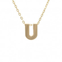 Lau International 14k Yellow Gold Initial U Pendant with Chain