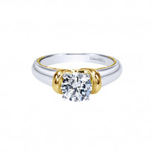 Gabriel & Co. 14k Two Tone Gold Diamond Solitaire Engagement Ring