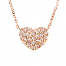 Lau International 14k Rose Gold Diamond Heart Necklace
