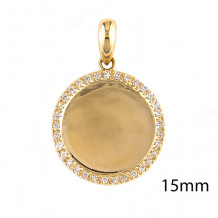 Lau International 14k Yellow Gold Diamond Disk Pendant