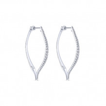 14k White Gold Gabriel & Co. Classic Diamond Hoop Earrings