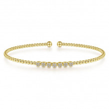 Gabriel & Co. 14k Yellow Gold Bujukan Diamond Bangle Bracelet - BG4116-65Y45JJ