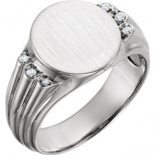 Stuller 14k White Gold Diamond Men's Oval Signet Ring