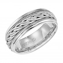 14k White Gold 8mm Braided Wedding Band