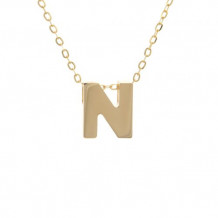 Lau International 14k Yellow Gold Initial N Pendant with Chain