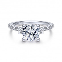 Gabriel & Co. 14k White Gold Contemporary 3 Stone Diamond Engagement Ring - ER7296R8W44JJ