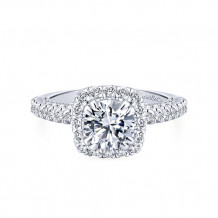 Gabriel & Co 14k White Gold Halo Diamond Engagement Ring