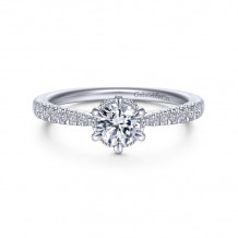 Gabriel & Co. 14k White Gold Contemporary Straight Diamond Engagement Ring - ER14658R2W44JJ