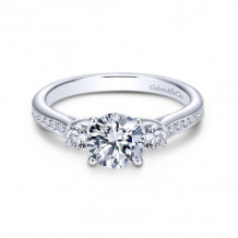 Gabriel & Co. 14k White Gold Contemporary 3 Stone Diamond Engagement Ring - ER7473W44JJ