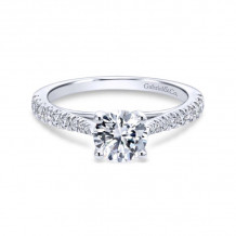 Gabriel & Co. 14k White Gold Contemporary Straight Diamond Engagement Ring - ER12291R3W44JJ