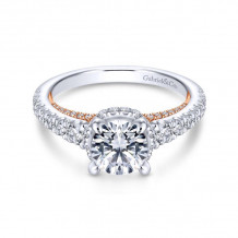 Gabriel & Co. 14k Two Tone Gold Crown Straight Diamond Engagement Ring - ER13833R4T44JJ