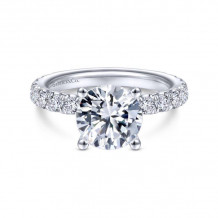 Gabriel & Co. 14k White Gold Contemporary Straight Diamond Engagement Ring - ER14941R8W44JJ