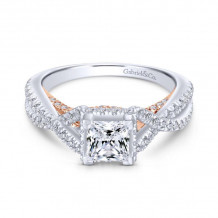 Gabriel & Co. 14k Two Tone Gold Crown Twisted Diamond Engagement Ring - ER13946S3T44JJ