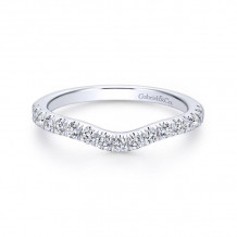 Gabriel & Co. 14k White Gold Contemporary Curved Wedding Band - WB12662S3W44JJ