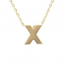 Lau International 14k Yellow Gold Initial X Pendant with Chain