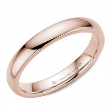 CrownRing 14k Rose Gold Traditional 3mm Wedding band - TDH14R3