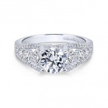 Gabriel & Co. 14k White Gold Entwined Straight Diamond Engagement Ring - ER12814R4W44JJ