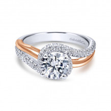 Gabriel & Co. 14k Two Tone Gold Contemporary Bypass Engagement Ring