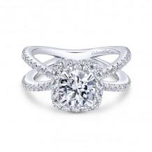 Gabriel & Co. 14k White Gold Rosette Split Shank Engagement Ring