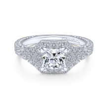 Gabriel & Co. 14k White Gold Art Deco Halo Engagement Ring
